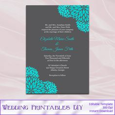Teal and Gray Wedding Invitations Template - Diy Printable Floral Invites Templates - Editable Text - Instant Download Pdf Word .doc P86