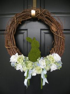 Moss Bunny Easter / Baby Shower / Spring Wreath by Daulhouseshop, $58.00