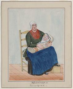 vrouw met kind in dracht, Doornspijk 1861. Klederdragt 1861, Jesaias 49 v 15 16 kunstenaar: Haasloop Werner, Heinrich Gottfried #Veluwe #Gelderland #oudedracht #Elburg
