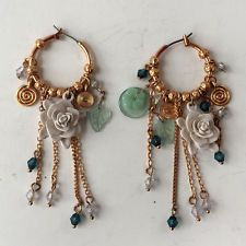 Pink color gold plated dangling Floral Design Beaded hoops Earrings Lot 29C