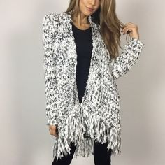 "• SALE • Snowball B & W Fringe Cardigan M L A cozy & chic knit cardigan with a chunky black and white knit. Hem is lined with fringe all around. A unique pattern and texture! Size M measures 27"" across the back and 33"" in length. 80% Polyester 20% Acrylic. I am wearing Size S. * Please do not purchase this listing- Thanks! * * Final Price* Boutique Sweaters Cardigans"