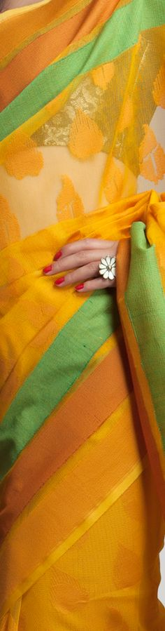 Woven #Yellow #Saree. #India #Fashion #Natural