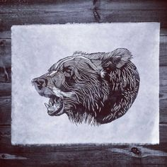 - BEAR NO.22 - A3 LINO PRINT - LIMITED EDITION -