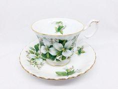 "Royal Albert ""Trillium"" Tea Cup and Saucer, White Flowers Teacup, Vintage Bone China"