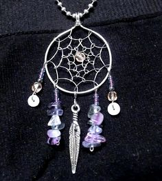 dreamcatcher pendant (stainless steel wire, fluorite and beads)