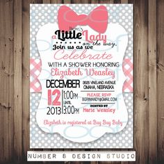 Little Lady pink BOW baby shower invite (custom made for your shower!) PRINTABLE digital file