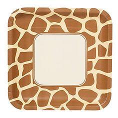 Animal Print Giraffe Deep Dish Square Dessert Plates - Includes (8 ...
