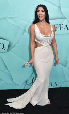 cbce6d4a07b Kim Kardashian looks like a waxwork as she arrives at Tiffany party
