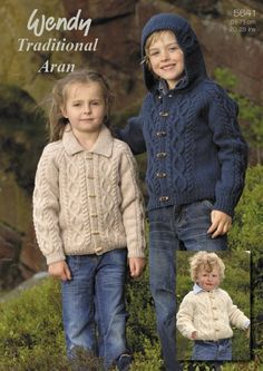 Knitting Patterns for Cardigans - Jackets and Hat in Wendy Traditional Aran (5641)