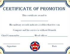 Promotion Certificate Template : Free Templates for Students, Employees & Army - Template Sumo Certificate Of Completion Template, Certificate Of Achievement Template, Free Printable Certificates, Certificate Format, Free Certificate Templates, Nursing Documentation, Military Records, Job Promotion, Graphic Design Templates
