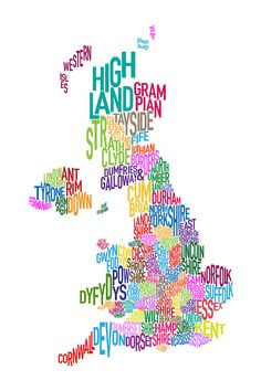 Great Britain County Text Map Digital Art  - Great Britain County Text Map Fine Art Print