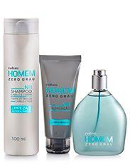 Presente Natura Homem Zero Grau - Desodorante Colônia + Loção Pós-barba + Shampoo + Embalagem