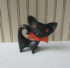 Ceramic Black Cat Figurine Vintage 60s by VintageSouthernPicks