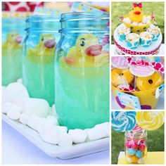 Splish Splash Rubber Duck Party Blue Mason Jars Popcorn Crunch Snake Treats Yellow Mini Donuts Bubble Gum Swirly Lollipops on Sweets Table Candy Buffet Girls First Birthday Party Idea