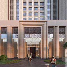 Exterior Visualisation Craftsman Exterior, Modern Exterior, Building Facade, Building Design, Hotel Architecture, Architecture Design, Restaurant Exterior Design, Modern Entrance Door, Retail Facade