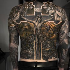100 Religious Tattoos For Men Sacred Design Ideas Hi Here we have nice picture about jesus tattoo designs on back. We wish these photos can. Badass Tattoos, Body Art Tattoos, New Tattoos, Sleeve Tattoos, Faith Tattoos, Tatoos, Crazy Tattoos, Awesome Tattoos, Backpiece Tattoo
