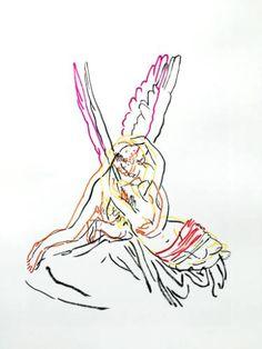 """Saatchi Art Artist Zoran Poposki; Drawing, """"The Kiss (after Canova)"""" #art"""