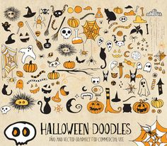 Halloween Doodle Clipart -PNG Vector by Origins Digital Curio on Halloween Doodle, Halloween Drawings, Halloween Clipart, Spooky Halloween, Kawaii Halloween, Halloween Photos, Clipart Png, Clipart Images, Candy Clipart