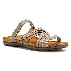 Naot   Amanda- Vintage Beige (also available in black):    Lean into every curve with the eye-catching Naot Amanda sandal.