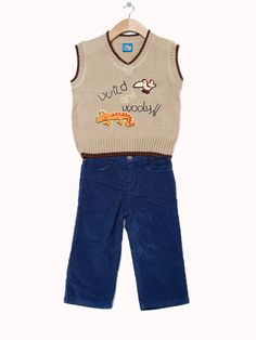'Wild' Sweater Vest and pants - Infant & Toddler. Available in khaki/navy and turquoise/khaki. only $24.99