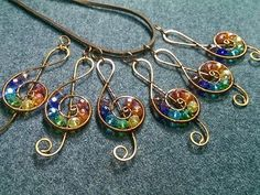 musical note pendant with stones rainbow colors - How to make wire jewelery 163 - YouTube