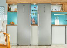 Lodówka typy Twin Samsung do 2 niezależne urządzenia: chłodziarka i zamrażalnik, oba są wyposażone w technologię Space Max