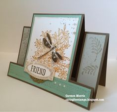 hand crafted greeting card frp, Caring for Stamps: Awesomely Artistic ... center panel step design ... dragonfly ... Stampin' Up!