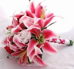 pink wedding tiger lilies bouquet  - love it
