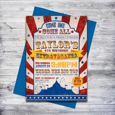 Vintage inspired circus invitation. Perfect for a carnival theme or circus party.  #circus #invitation