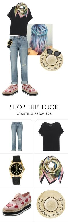"""""""Styling Black T shirt w/ jeans."""" by sunnyjuke ❤ liked on Polyvore featuring Current/Elliott, True Religion, Rolex, Gucci, Prada and Betsey Johnson"""