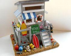 Beach House Birdhouse - Beach hut, surfboard, lobster buoy, seashells, driftwood, flamingo, beach decor, nautical flags, flip flops