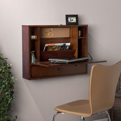 Enhance your home office with this wall-mount laptop desk. This attractive brown mahogany-finished desk features a fold-down tabletop, storage cubbies, and a convenient drawer. The roomy writing surface allows for work to get done comfortably. Mesa Home Office, Home Office Desks, Home Office Furniture, Kids Office, Small Office, Bedroom Office, Space Furniture, Diy Bedroom, Vintage Furniture