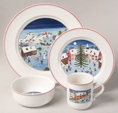 """Villeroy and Boch - """"Naif Christmas"""" - we've enjoyed this china for years."""