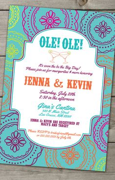 The Mexican Fiesta Fun Bold Invitation DIGITAL by TheFunkyOlive