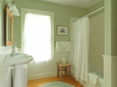 Bathroom - what a charming guest bath. Love the subway tile, wainscoting on wall and the color