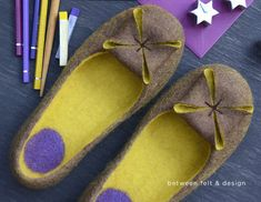Felted slippers Wool clogs Unique design slippers Women home