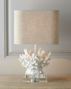 Great coral lamp on lucite base and on sale!