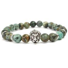 Punk Men's Natural African Turquoise Rock Silver Lion Head Elastic Beaded Bracelet