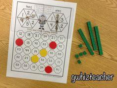 gwhizteacher, math games, thanksgiving math games for first grade, tens and ones turkey dinner