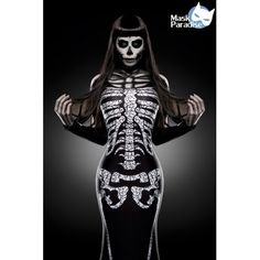 Skeleton Lady Kostüm Komplettset im Sortiment bei https://fashionmoon.eu