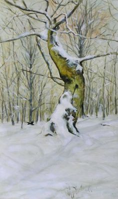 Lenka Krstic (13.04.1993.) Winter Tree Oil on panel Size: 19,7 H x 11,8 W x 0,3 in 2015 SOLD In 2015, Traditional Paintings, Winter Trees, Tree Oil, Snow, Outdoor, Outdoors, Outdoor Games, The Great Outdoors