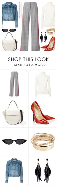 """Checked pants..."" by unamiradaatuarmario ❤ liked on Polyvore featuring Monse, JoosTricot, Wandler, Jimmy Choo, Valentino, Yves Saint Laurent and Oscar de la Renta"