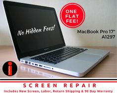 """MORE AFFORDABLE TO REPAIR THAN REPLACE! Apple MacBook Pro 17"""" A1297 Broken LCD Screen Replacement Service http://www.ebay.com/itm/-/232529551558?roken=cUgayN&soutkn=Wiv8Kr via @eBay"""