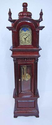 Dollhouse Working Mahogany Grandfather  Miniature Clock
