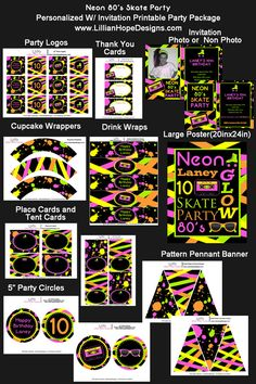 Neon Party - 80's Party - Skate Party - PRINTABLE Personalized Party Package With Invitation - Neon 80's on Etsy, $38.25 AUD
