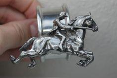 Antique Silver HORSE & RIDER Equestrian Miniature Figurine Figural Napkin Ring Silver Napkin Rings, Silver Rings, Equestrian Shop, Miniature, Rider, Silver Trays, Pewter, Antique Silver, Ring Holders