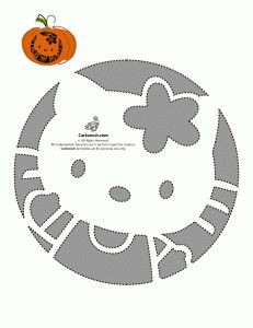Hello Kitty Pumpkins - Free Printable Stencils. This would look super cute on a gourd.