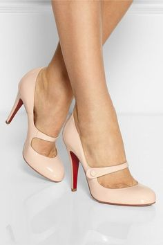 Christian Louboutin - Charleen 100 patent-leather Mary Jane pumps from NET-A-PORTER
