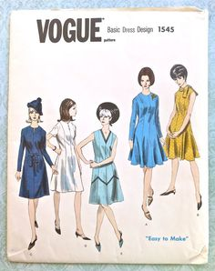 Vogue 1545 Vintage 1960s Womens A Line Dress Pattern by Fragolina, $12.00
