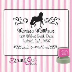 Horse Equestrian return address rubber stamp by stampoutonline, $35.00